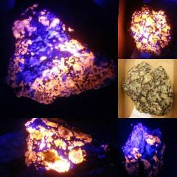 Green sodalite fluoresces bright orange under the UV light